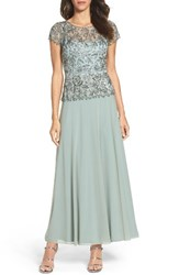 Pisarro Nights Women's Beaded Mesh Mock Two Piece Gown Sage