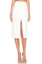 Blaque Label Center Slit Knit Pencil Skirt White