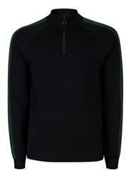 Topman Black And Green Half Zip Track Top