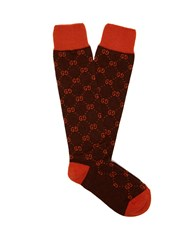 Gucci Gg Long Alpaca Blend Socks Brown