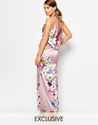 True Violet Sateen Cowl Back Maxi Dress In Floral Print Taupe Floral Multi