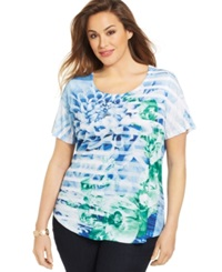 Style And Co. Plus Size Printed Rhinestone Embellished Top