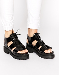 Truffle Collection Ocean Chunky Lace Up Sandals Black