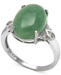 Macy's Dyed Jade 10Mm And Diamond 1 10 Ct. T.W. Ring In Sterling Silver