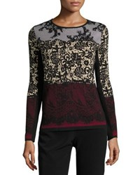 Tahari By Arthur S. Levine Long Sleeve Printed Knit Top Black Red