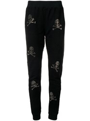 Philipp Plein Skull And Crossbones Embellished Track Pants Black