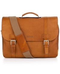Kenneth Cole Reaction Colombian Leather Laptop Messenger Bag Tan