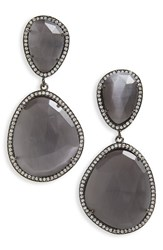 Susan Hanover Women's Semiprecious Stone Drop Earrings Grey Black Silver