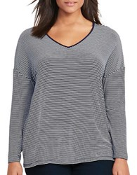 Lauren Ralph Lauren Plus Striped Jersey V Neck Tee Navy Ivory