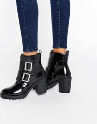 London Rebel Metal Buckle Chunky Boot Black Pu