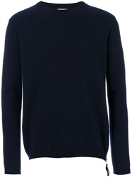Laneus Zip Detail Jumper Men Virgin Wool 46 Blue