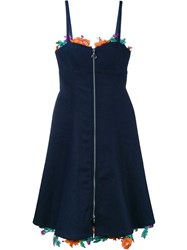 Adam Selman Embroidered Floral Denim Dress Blue