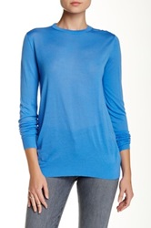 Proenza Schouler Crew Neck Sheer Merino Wool Sweater Blue