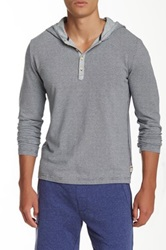 Surfside Supply Co. Ray Striped Hooded Henley Gray