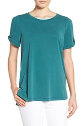 Pleione Women's Cold Shoulder Short Sleeve Tee Pine Green