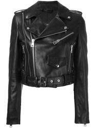 Manokhi Cropped Biker Jacket Black