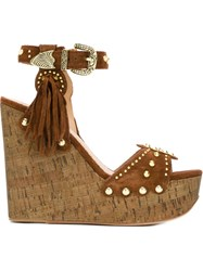 Ash 'Bliss' Wedge Sandals Brown