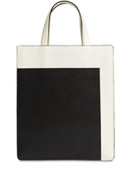 Valextra Color Block Small Boxy Tote Bag Ivory Black