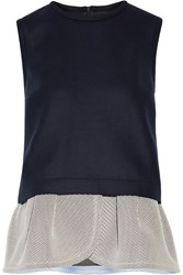 Mother Of Pearl Irving Mesh Trimmed Wool Blend Peplum Top Blue