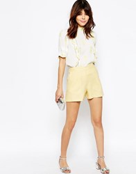 Asos Tailored A Line Short In Linen Lemon Yellow