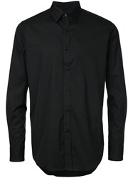 N. Hoolywood Button Down Fitted Shirt Men Cotton 38 Black