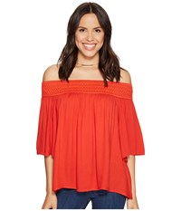 Bb Dakota Lin Rayon Crepe Off Shoulder Top With Novelty Elastic Trim Fire Red Women's Clothing