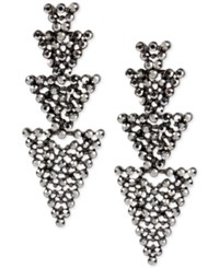 Inc International Concepts Hematite Tone Linked Pave Triangle Linear Drop Earrings Only At Macy's Gray