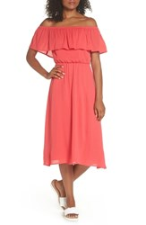 Charles Henry Off The Shoulder Ruffle Midi Dress Coral