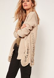 Missguided Distressed Slouchy Cardigan Nude Natural