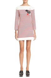 Marc By Marc Jacobs Women's Marc Jacobs Embellished Breton Stripe Shift Dress Breton Red Multi