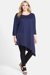 Sejour Long Asymmetrical Mixed Media Tunic Plus Size Blue