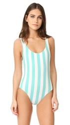 Solid And Striped The Anne Marie One Piece Aqua Cream Stripe