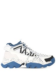 Kenzo 40Mm Inka Faux Leather And Mesh Sneakers White