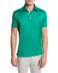 Kiton Solid Sateen Polo Shirt Green