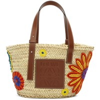 Loewe Beige And Tan Flowers Basket Tote