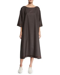 Eskandar Slim A Line Wool Silk Midi Dress Brown
