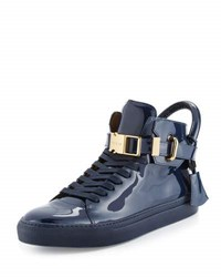 Buscemi 100Mm Patent Leather High Top Sneaker Blue