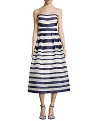 Kay Unger New York Strapless Tea Length Cocktail Dress Navy Multi