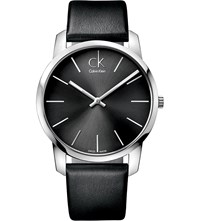 Calvin Klein K2g21107 City Stainless Steel And Leather Watch Black