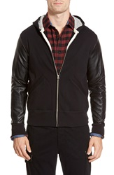 Todd Snyder Champion Zip Front Hoodie With Faux Leather Sleeves Black