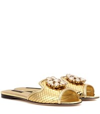 Dolce And Gabbana Bianca Metallic Leather Slip On Sandals Gold