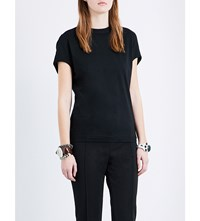 Toga Fringe Detail Cotton Jersey T Shirt Black
