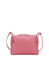 Bottega Veneta Intrecciato Small Zip Crossbody Bag Dusty Rose