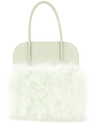 Nina Ricci Panelled Fluffy Tote Turkey Feather Green