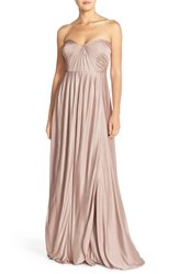 Women's Jenny Yoo 'Demi' Convertible Strapless Pleat Jersey Gown