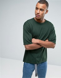 Asos Oversized Boxy Fit Knitted T Shirt In Green Highrise Teal Blue
