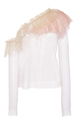 Philosophy Di Lorenzo Serafini Lace Ruffle Shoulder Blouse Pink