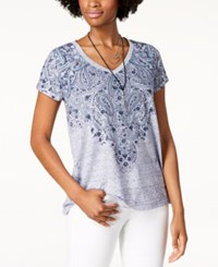 Styleandco. Style Co Graphic V Neck T Shirt Blue