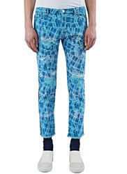 James Long Slim Cracked Print Jeans Blue