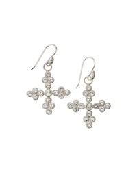 Jude Frances Judefrances Jewelry Silver Cross White Topaz And Sapphire Earring Charms Women's